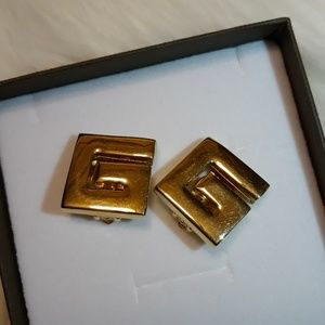 Authentic Givenchy Clip Gold Earrings